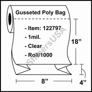 """1-mil Gusseted Poly Bag 8"""" x 4"""" x 18"""" Clear - RL/1000"""