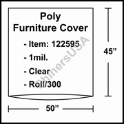 """1 mil Poly Plastic Furniture Covers 50"""" x 45"""" Clear - RL/300"""