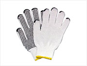 PVC Dotted Palm  Heavy-Wt. String knit Glove (S) Natural 12/pr