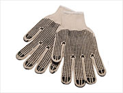 2-Sided PVC Dotted Heavy-Wt. String Knit Gloves (S) Natural 12/pr