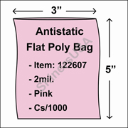 "2 mil Antistatic Flat Poly Bag 3"" x 5"" Pink cs/1000"