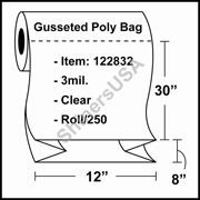 "3 mil Gusseted Plastic Poly Bag 12"" x 8"" x 30"" Clear - RL/250"