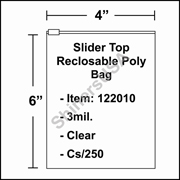"3 mil Slider Top Reclosable Poly Bag 4"" x 6"" Clear cs/250"