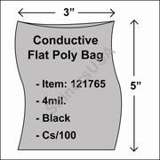 "4 mil Conductive Flat Poly Bag 3"" x 5"" Black cs/100"