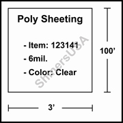6 mil Poly Plastic Sheeting, Construction & Agricultural (C&A) Film 3' x 100' Clear