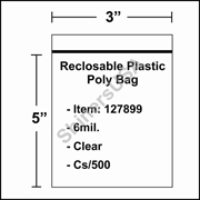 "6 mil Reclosable Plastic Poly Bag 3"" x 5"" Clear cs/1000"