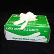 Powdered White Disposable Latex Gloves 5-mil (S) Box-100