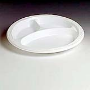 """Chinet® White Lightweight 10.25"""" Plastic Plate 3 compartments, cs/500"""