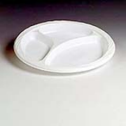 "Chinet® White Lightweight 9"" Plastic Plate 3 compartments, cs/500"