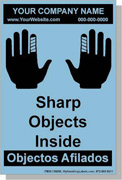 "Personalized Bilingual Spanish Shipping Labels ""Sharp Object Inside"" 4 x 6"" Blue"