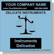 """""""Delicate Instruments / Handle With Great Care"""" Labels 4 x 4"""" Blue"""
