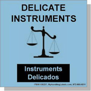 """Delicate Instruments / Handle With Great Care"" Labels 4 x 4"" Blue"