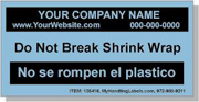 """Personalized Bilingual Spanish Shipping Labels """"Do Not Break Shrink Wrapy"""" Labels 2 x 4"""" Blue"""