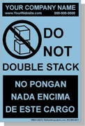 "Personalized Bilingual Spanish Shipping Labels ""Do Not Double Stack"" 4 x 6"" Blue"