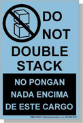 """Bilingual English/Spanish - """"Do Not Double Stack"""" Shipping Labels 4 x 6"""" Blue"""
