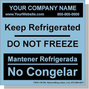 """Do Not Freeze / Keep Refrigerated"" Personalized Bilingual Spanish Shipping Labels 4 x 4"" Blue"
