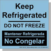 """""""Do Not Freeze / Keep Refrigerated"""" Bilingual Spanish Shipping Labels 4 x 4"""" Blue"""