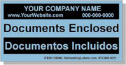 """""""Documents Enclosed"""" Personalized Bilingual Spanish Shipping Labels 2 x 4"""" Blue"""
