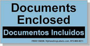 """""""Documents Enclosed"""" Bilingual Spanish Shipping Labels 2 x 4"""" Blue"""