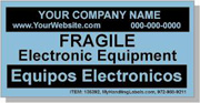 """Personalized Bilingual Spanish """"Fragile / Electronic Equipment"""" Labels 2 x 4"""" Blue"""