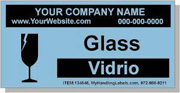 """Glass"" Personalized Bilingual Spanish Shipping Labels 2 x 4"" Blue"