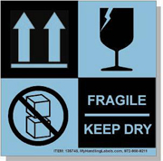 """""""Fragile Keep Dry"""" Shipping Labels 4 x 4"""" Blue"""