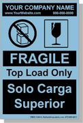 "Personalized Bilingual Spanish Shipping Labels ""Fragile - Top Load Only"" 4 x 6"" Blue"