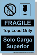 """Bilingual Spanish Shipping Labels """"Fragile - Top Load Only"""" 4 x 6"""" Blue"""
