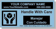 """Personalized Bilingual Spanish Shipping Labels """"Handle With Care"""" 2 x 4"""" Blue"""