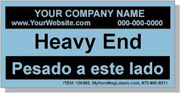 """Heavy End"" Personalized Bilingual Spanish Shipping Labels 2 x 4"" Blue"