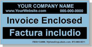 """Invoice Enclosed"" Personalized Bilingual Spanish Shipping Labels 2 x 4"" Blue"