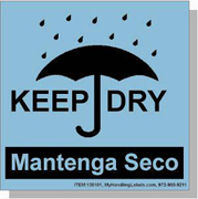 """Keep Dry"" Bilingual Spanish Shipping Labels 4 x 4"" Blue"