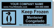 """Keep Frozen"" Personalized Bilingual Spanish Shipping Labels 2 x 4"" Blue"