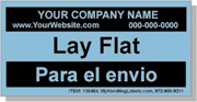 """Personalized Bilingual Spanish Shipping Labels """"Lay Flat"""" 2 x 4"""" Blue"""