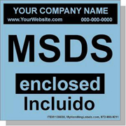 """MSDS Enclosed"" Personalized Bilingual Spanish Shipping Labels 4"" x 4"" Blue"