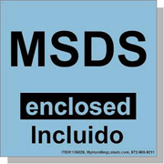 """""""MSDS Enclosed"""" Bilingual Spanish Shipping Labels 4"""" x 4"""" Blue"""