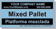 """Mixed Pallet"" Personalized Bilingual Spanish Shipping Labels 2 x 4"" Blue"