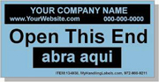 """Open This End"" Personalized Bilingual Spanish Shipping Labels 2 x 4"" Blue"
