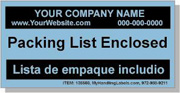 """Personalized Bilingual Spanish Shipping Labels """"Packing List Enclosed"""" 2 x 4"""" Blue"""