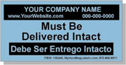 """Personalized Bilingual Spanish Shipping Labels """"Palletized Shipment / Must Be Delivered Intact"""" 2 x 4"""" Blue"""