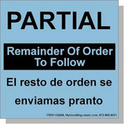"""""""Partial / Remainder Of Order To Follow"""" Bilingual Spanish Shipping Labels 4 x 4"""" Blue"""