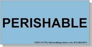 """Perishable"" Shipping Labels 2 x 4"" Blue"