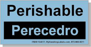 """Perishable"" Bilingual Spanish Shipping Labels 2 x 4"" Blue"