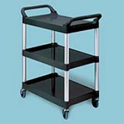 Three-Shelf Utility Cart with Brushed Aluminum Uprights (Black) 200-lb 1/ea