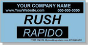 """Rush"" Personalized Bilingual Spanish Shipping Labels 2 x 4"" Blue"