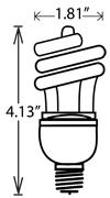 Flourescent Mini Spiral Med-Base 13-Wat ES S7217 1/ea