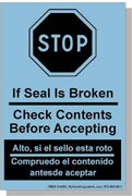 "Bilingual Spanish Shipping Labels ""Stop Check Content Before Accepting"" 4 x 6"" Blue"