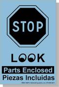 "Bilingual Spanish Shipping Labels  ""Parts Enclosed"" 4 x 6"" Blue"