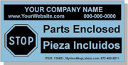 """Personalized Bilingual Spanish Shipping Labels  """"Parts Enclosed"""" 2 x 4"""" Blue"""