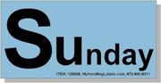 """""""Sunday"""" Shipping Labels 2 x 4"""" Blue"""